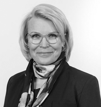 Black and white picture of Merja Rissanen