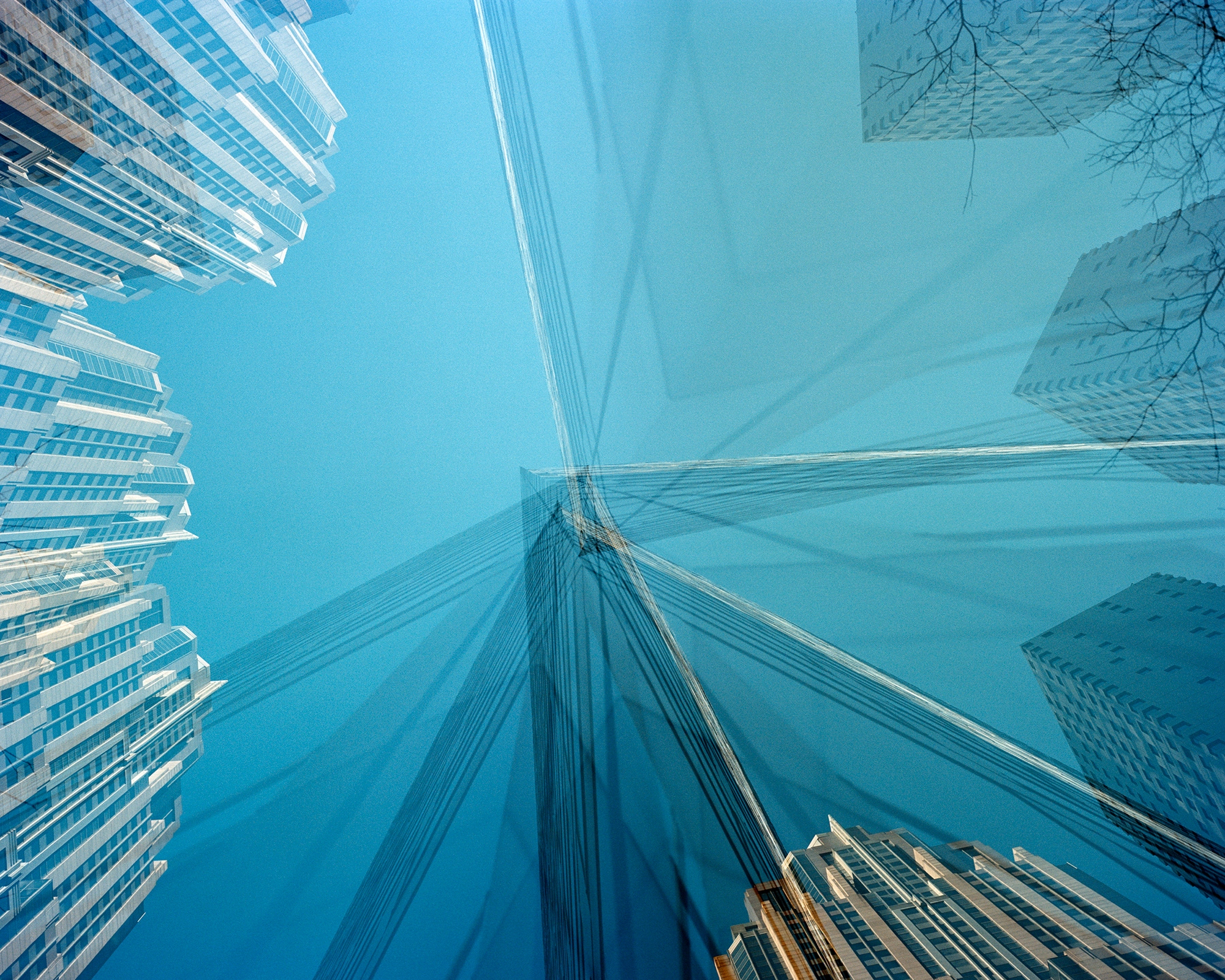 Abstract picture with blue sky and skyscrapers